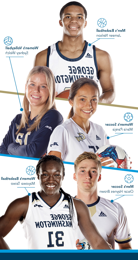 GW student athletes: Chidima Osuchukwu, Class of 2017 plays Women's Volleyball; Miranda Diblasio, Class of 2018 runs Women's Cross Country and Track; Chris Shaffer, Class of 2018, runs Men's cross country and track; Tobi Adewole, Class of 2017, plays Men's Soccer; Pierce Deamer, class of 2018 plays men's Water Polo; 和 Brittany Cooper, Class of 2018 plays women's soccer