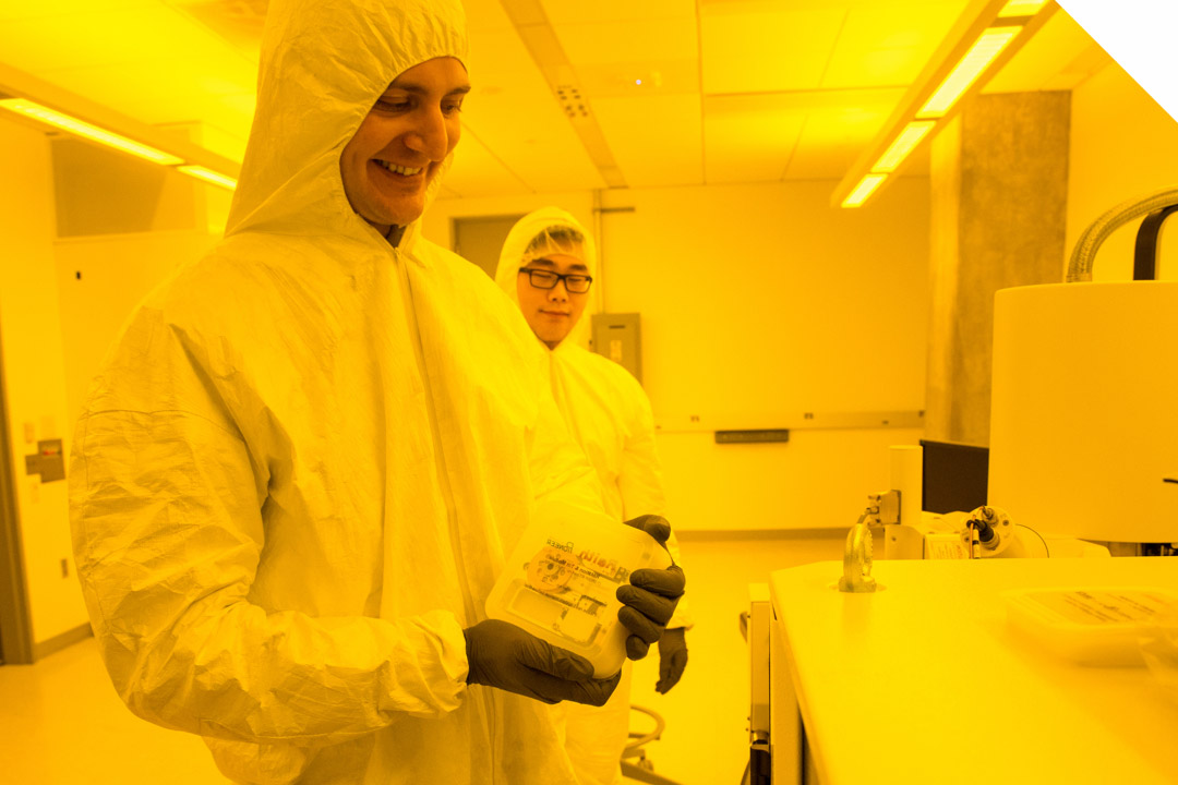 students in GW's nanotech research space